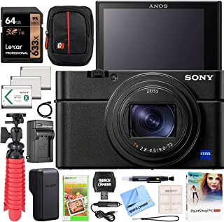 Sony Cyber-Shot RX100 VII RX100M7 Premium Compact Camera DSC-RX100M7 Enhanced Bundle with Triple 3X Battery Pack + 64GB Me...