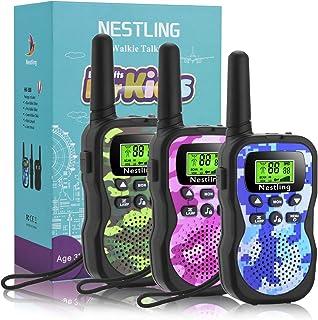 Nestling Walkie Talkie voor kinderen, 3-12 jaar, 8-kanaals radio met achtergrondverlichte lcd-zaklamp, 1-3 mijl bereik voo...
