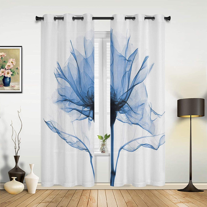 Virginia Beach Mall specialty shop Window Curtains Drapes Panels Romantic Printin Blue X Ray Flower