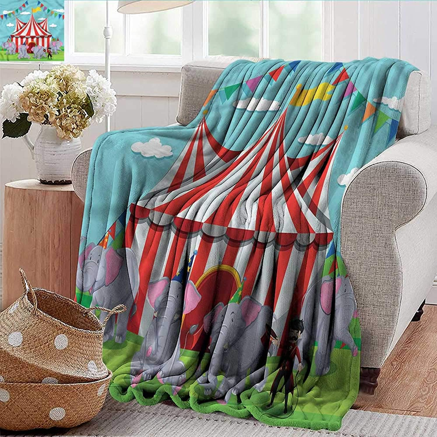 Xaviera Doherty Weighted Blanket for Kids Circus,Pennant Flags Elephants Show Soft Summer Cooling Lightweight Bed Blanket 50 x60