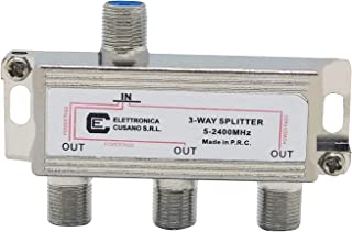 Elettronica Cusano 6333 - Divisor satélite de 3 vías, partitor Antena TV de Interior con Conector F, Divisor satélite, Div...