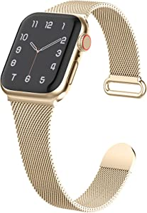 Slim Metal Band Compatible with Apple Watch Bands 38mm 40mm Women, Thin Narrow Stainless Steel Mesh Milanese Loop Magnetic Replacement Strap for iWatch Series SE 6 5 4 3 2 1 (Patents Peding)