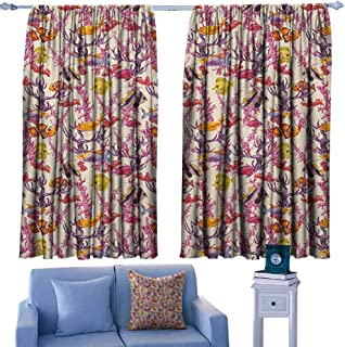 Mannwarehouse Watercolor Breathable Curtain Vintage Inspired Seaweed Coral Algee and Fish Illustration Retro Aquarium Theme Set of Two Panels 63