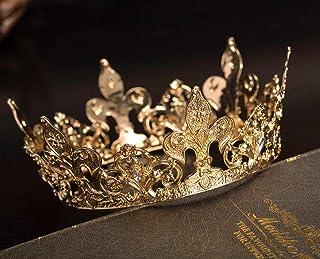 SWEETV Corona de reina de oro real para mujer, corona de concurso de boda, accesorios de fiesta de disfraces para cumpleañ...