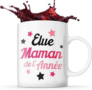 Mug Life Mug Maman Cadeau « Élue maman de l'année »   Résistant au Lave-Vaisselle et Micro-Ondes   Hauteur : 9,7 cm – Diam...