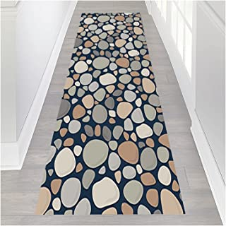 HAIPENG Runner Rug for Hallway Non Slip, Stone Pattern Kitchen Area Rugs Floor Protector, Durable Low Pile Entrance Front ...