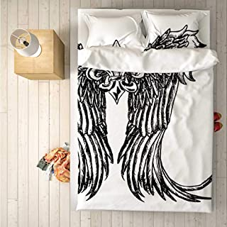 Medieval Practical 4 Piece Bedding Set,Tribal Wing Design Magic Spell Middle Ages Symbol of Power Artistic Design for Indoor,One Side Print : Queen