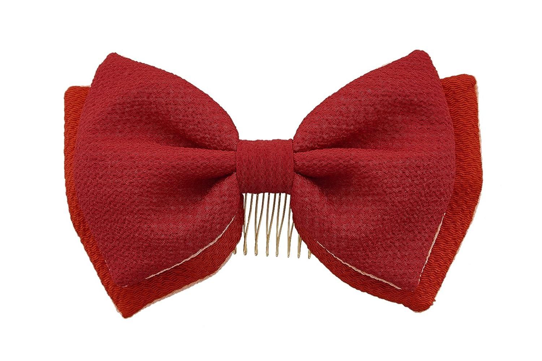(ソウビエン) 髪飾り リボン 縮緬 無地 成人式 振袖向き 卒業式 日本製