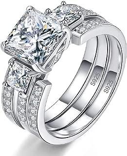 BONLAVIE Wedding Engagement Rings Bridal Set for Women 925 Sterling Silver CZ Past Present Future