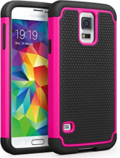 Galaxy S5 Case, SYONER [Shockproof] Hybrid Rubber Dual Layer Armor Defender Protective Case Cover for Samsung Galaxy S5 S V I9600 [Rose/Black]