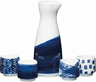 KitchenCraft World of Flavours Japanese Sake Set in Gift Box, Porcelain, White/Blue, 5 Pieces