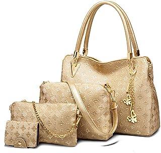 qingmo Damen Handtaschen UmhäNgetaschen Leder Schultertaschen Henkeltaschen Shopper Messenger Bags Set