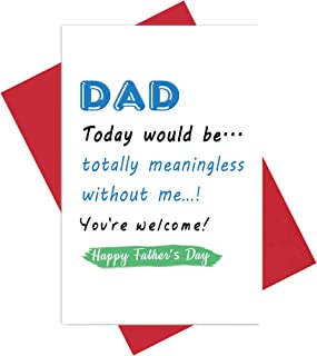 Cheeky Father's Day Card, Meaningful Message for Dad from Naughty Son, Joke Humour Card