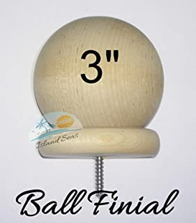 "BDH / Island Seas 3"" Round Large Wood Ball Finial - - Wood Cap Baluster Newel Post Railing with 3/16"" Screw"