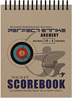 Perfect Strike Archery SCOREBOOK with Rules and Scoring Instructions : Heavy Duty. Great for Practice and Competition. 10 Round - 3 Arrow Score-Sheets.