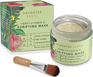 DAUGHTER EARTH Hemp + Vitamin E Purifying Clay Mask - Pore Minimizing, Acne Control, Blemish Control Volcanic Mask, and De...
