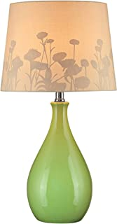 Lite Source LS-21489GRN Table Lamp, Green Ceramic with Silhouette Paper Shade