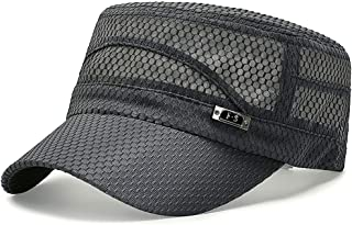 Glamorstar Army Military Cap Summer Quick Qry Mesh Hat Flat Top Newsboy Hat Basic Accessories for Men