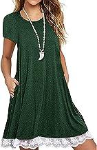 WHZXYDN Zomer vrouwen kanten stiksels ronde hals korte mouw losse grote maat jurk