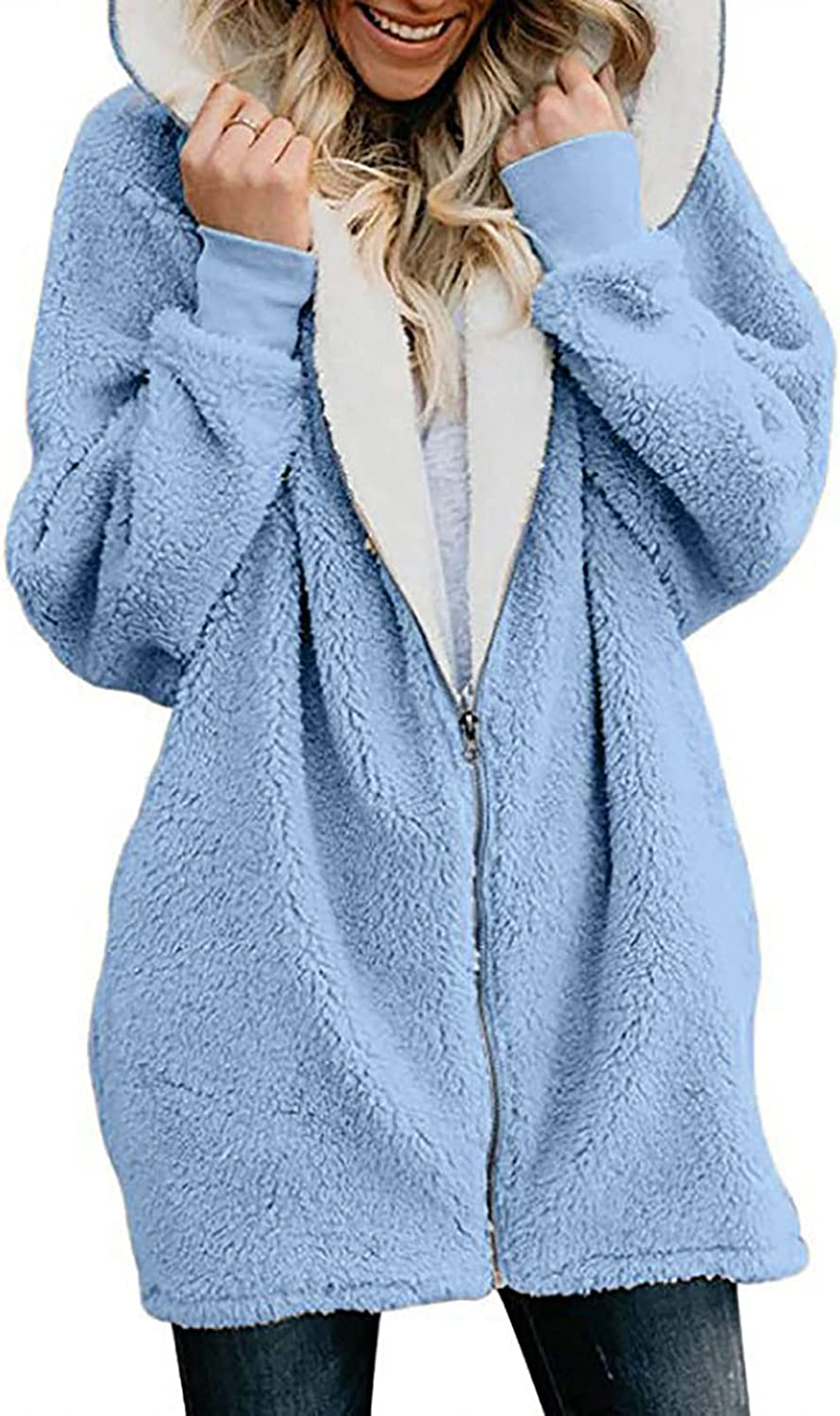 Womens Winter Fuzzy Coat Zip Up Hoodies Jacket Long Sleeve Sherpa Lined Warm Outwear Soft Comfortable Casual Loose Top