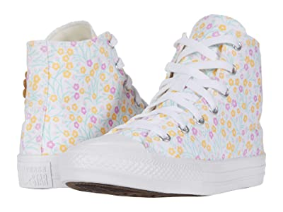 Converse Kids Chuck Taylor(r) All Star(r) Floral (Little Kid/Big Kid) (White/Topaz Gold/Peony Pink) Girl