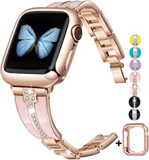 JSGJMY Bling Bands Compatible with Apple Watch Band 38mm 40mm 42mm 44mm with Case,Women Diamond Rhinestone Metal Jewelry Wristband Strap for iwatch Series 5/4/3/2/1 (Rose Gold+Pink, 38mm/40mm)