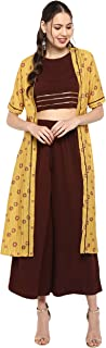 Janasya Women's Yellow Poly Crepe Top With Palazzo And Jacket