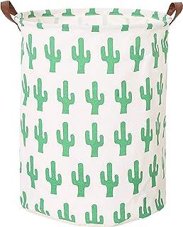 Large Collapsible Round Storage Bin/Cactus Storage Basket/Clothes Laundry Hamper/Toy Books Holder (Cactus)