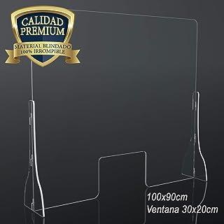 Mampara Premium Policarbonato de 5mm 100x90cm para farmacias, oficinas y Comercio en General. Vinilo Suelo Distancia de Seguridad Gratis