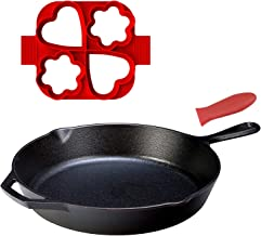 AUSELECT Cast Iron Skillet Fry Pan 30cm (12.5 Inch) with Silicone Handle Holder & Silicone Egg Ring, Black