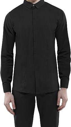 DonandMerit Camisa Negra con Bolsillos Ocultos para Hombre. 5 Bolsillos con Cremallera para el Móvil, Cartera y Pasaporte - para el Viaje o Cada día. ...