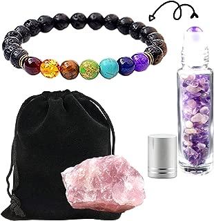 Worldly Finds Chakra Aromatherapy Bracelet, Essential Oil Diffuser 7 Chakras Anxiety Bracelet, Lava & Chakra Stones, Healing Crystals Quartz Filled Roller Bottle, Gemstone Ball Set