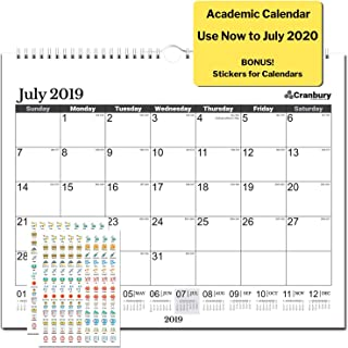 School Year Wall Calendar 2019-2020 (Black) 15x12, Use to July 2020, Monthly Large Wall Calendar, Big Hanging Academic Calendar, with Stickers for Monthly Wall Calendar 2019 2020