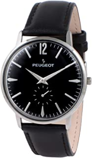 Peugeot Mens Vintage Retro Business Watch, Analog with Remote Sweep Second Hand and Black Leather