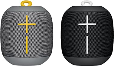 Ultimate Ears UE WONDERBOOM Bluetooth Speaker, Waterproof with Double-Up Connection - Twin Pack Black and Grey