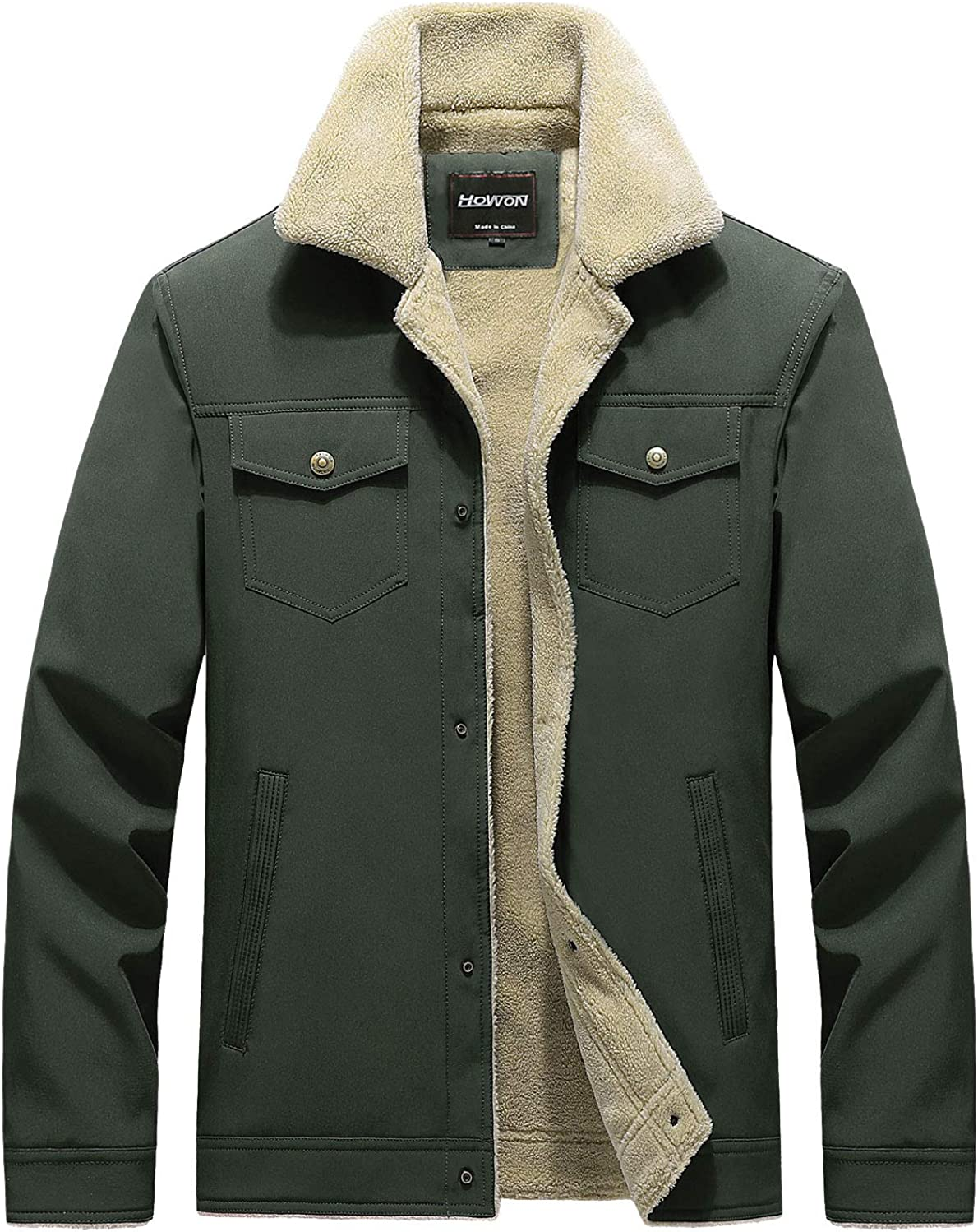 HOW'ON Men's Casual Sherpa Fleece Lined 70% OFF Outlet Fu Warm Store With Jacket Coat