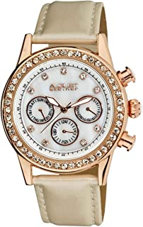 August Steiner Women's White Leather Band Watch - AS8018WT, Analog, Quartz