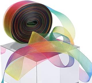 Molshine 50yd 2-inch Premium Quality Shimmer Sheer Organza Ribbon - Rainbow Seven Colors (2