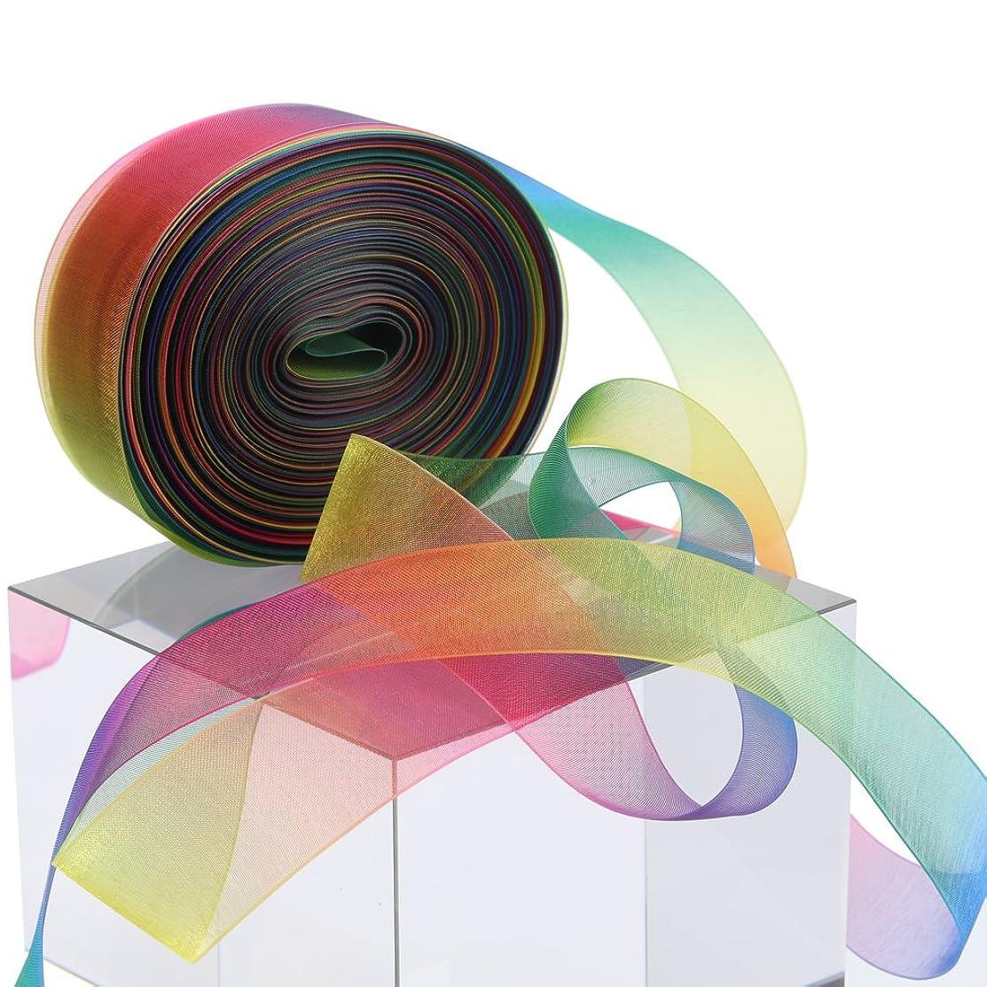 molshine 50yd 1-inch Premium Quality Shimmer Sheer Organza Ribbon - Rainbow Seven Colors