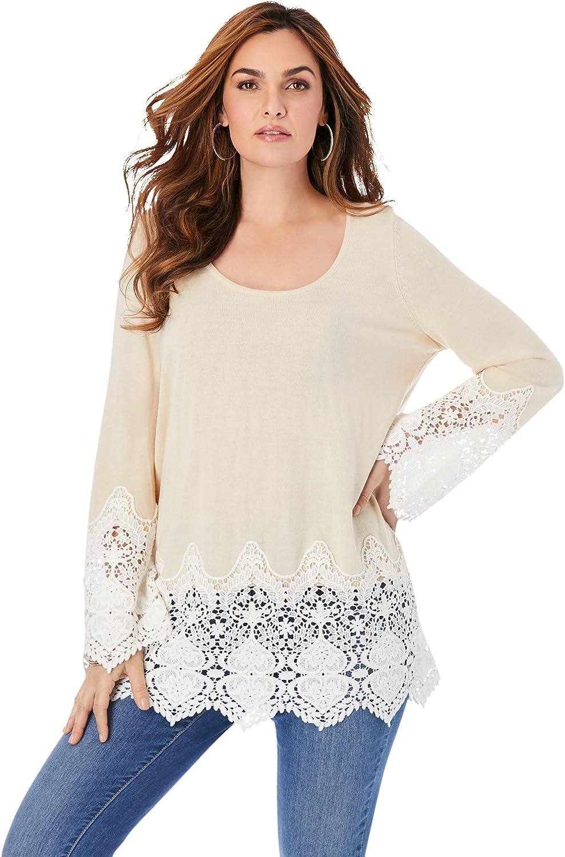 Roamans Women's Plus Size Fine Gauge Lace Pullover