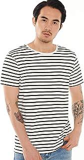 Zbrandy Striped T Shirt for Men Sailor Tee Breton Stripes Top Basic Pattern Cotton