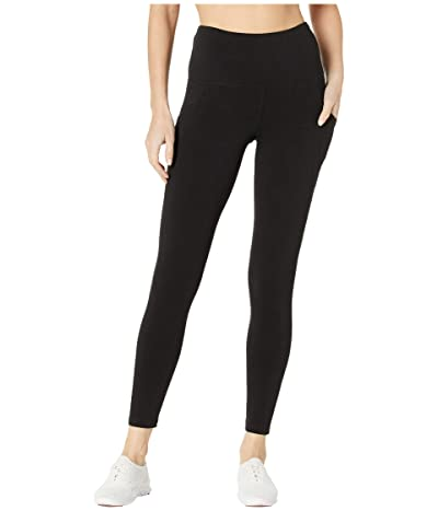 Jockey Active Cotton/Spandex Basics 7/8 Leggings w/ Side Pocket (Deep Black) Women