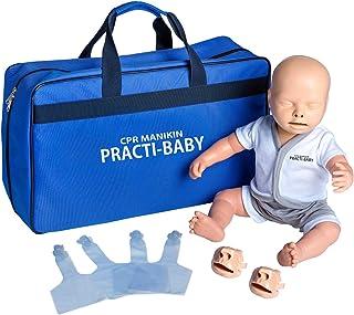 PULOX muñeca de entrenamiento Practi-Baby reanimación muñeca CPR con mascarilla, 5 bolsas de aire y bolsa de transporte