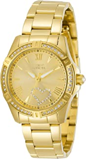 Invicta Women's Angel 34.5mm Gold Tone Stainless Steel, Crystal Accented Quartz Watch, Gold (Model: 21384)