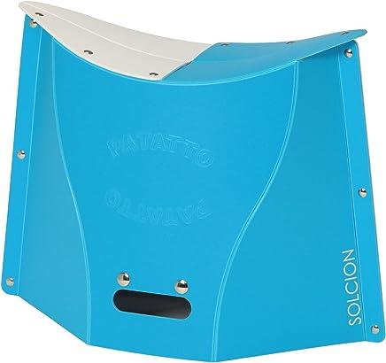 便携折叠椅子 パタット 高30cm  ホワイト×ブルー