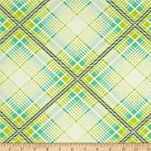 Summer Plaid Turquoise from the Up Parasol collection by Heather Bailey for FreeSpirit Fabrics - Green Blue (Half yard)