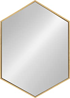 Kate and Laurel McNeer Hexagon Metal Frame Wall Mirror with Gold Finish for Bathrooms,..