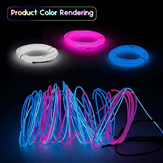 ESCO LITE EL Wire Neon Lights 9ft Neon Signs Portable 3m for Halloween Christmas Party Decoration Home (Blue White Pink)