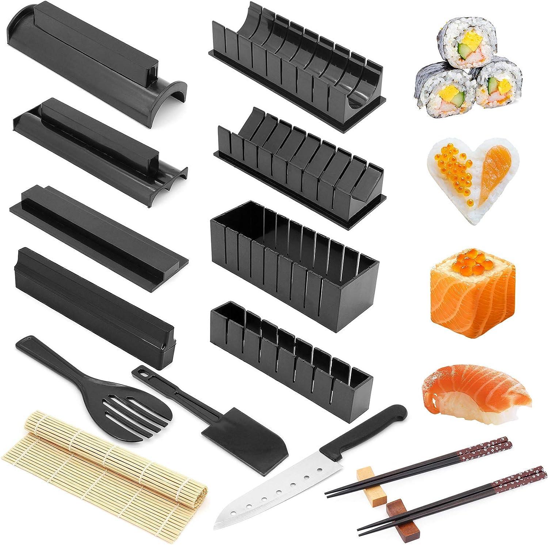 Kit para hacer sushi todo en un kit de 16 piezas de plástico para hacer sushi con 8 formas diferentes de rodillo de arroz para sushi, herramientas para hacer sushi en casa