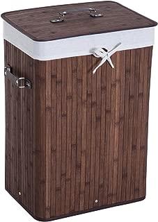 Cesta Plegable con Tapa y Funda Interior TIENDA EURASIA/® Cesta de Bambu para la Ropa Sucia Ideal para organizar la Ropa para la Colada Natural, Rectangular 40X30X60 CM